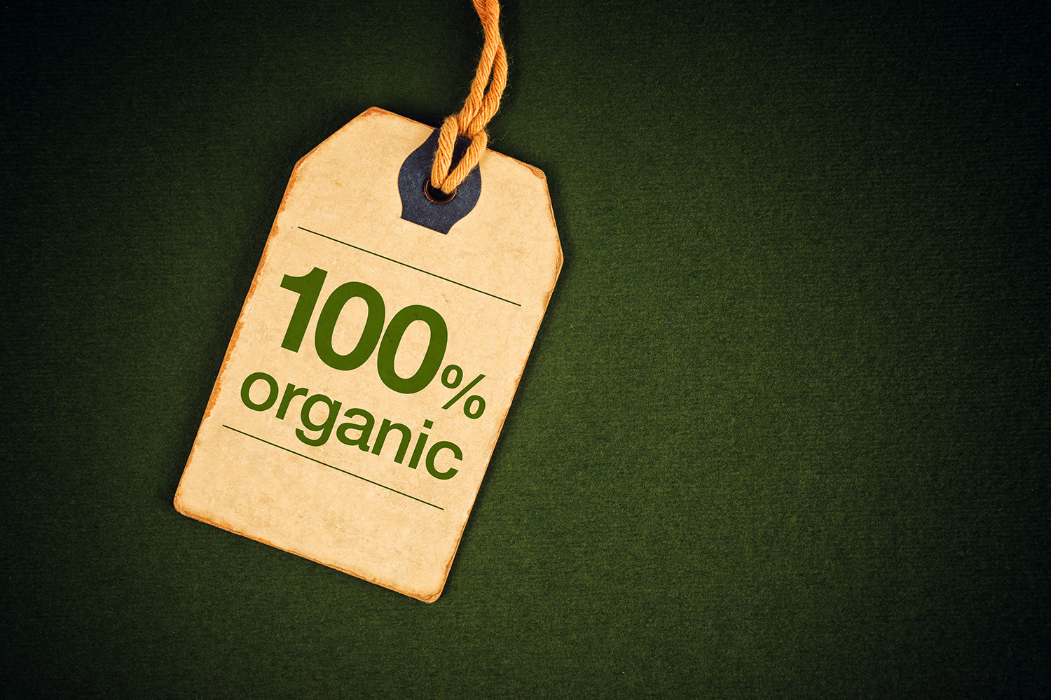 """A label which says """"100% organic"""""""